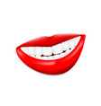 beautiful smiling mouth with white healthy teeth vector image vector image