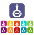 bellied bottle icons set flat vector image vector image