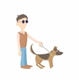 Blind man with dog guide icon cartoon style vector image vector image