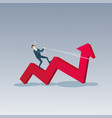 business man ride red arrow up financial success vector image vector image