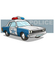 cartoon blue police car with golden badge vector image vector image