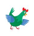 cartoon chicken isolated on white cartoon vector image