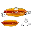 Cartoon grilled fast food hot dog character vector image