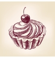 cherry cupcake hand drawn illustration vector image