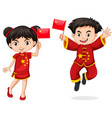 chinese kids holding flag vector image vector image