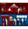 Cinema movie 2 flat banners set vector image