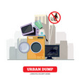 city dump appliance garbage from broken kitchen vector image vector image