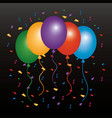 colored balloons flying confetti and dark vector image vector image