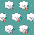 colorful background with pattern of animated cloud vector image vector image
