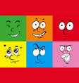 colorful background with six faces vector image