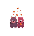 cute animal couple holding hand with hearts vector image vector image