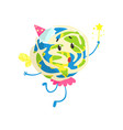 cute cartoon earth planet wearing party hat and vector image vector image