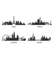 european cities black and white skylines vector image