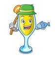 fishing mimosa mascot cartoon style vector image vector image