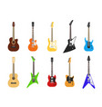 flat guitars acoustic and electric guitar musical vector image vector image