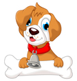 funny puppy cartoon holding bone vector image vector image