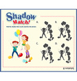 Game template with shadow matching kids vector image