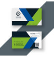 geometric green and blue business card design vector image vector image