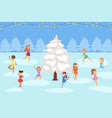 girls figure skating on ice outdoor round snowy vector image vector image