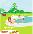 girls having a Barbeque Party vector image