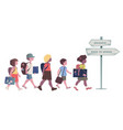 group of kids with backpacks briefcases folders vector image