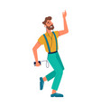 guy dancing with smartphone listening music vector image