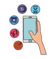 hand with smartphone and business icons vector image vector image