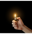 hand with the lighter isolated vector image vector image