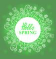 hello spring floral doodles wreath vector image vector image