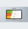 infographic design on the laptop screen 3 option vector image vector image