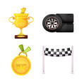 isolated object of car and rally sign collection vector image