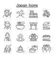 japan icon set in thin line style vector image