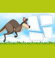 kangaroo on note template vector image vector image