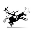 man falls down from the horse vector image vector image