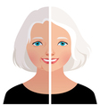 Mature woman before and after cosmetic operation vector image vector image