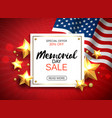 memorial day sale banner with flag and golden vector image