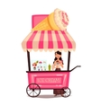 Mobile street seller with ice cream vector image