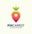 pin carrot logo design vector image vector image