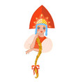 russian girl in a kokoshnik isolate on a white vector image vector image