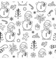 seamless pattern with snowmen vector image vector image