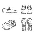 set sketch leather women clasp shoes vector image vector image