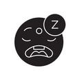 sleeping emoji black concept icon sleeping vector image vector image