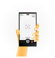 smartphone in hand and recording video vector image vector image