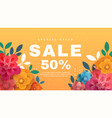 spring sale banner with paper flowers on a yellow vector image vector image
