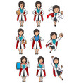 super doc asian female set vector image vector image