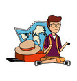 tourist man with paper map and hat vector image vector image