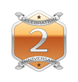 Two years anniversary celebration silver logo with vector image vector image