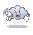 with megaphone rain cloud character cartoon vector image