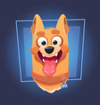 dog face with open mouth on blue background vector image