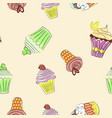 abstract seamless pattern with colorful cupcakes vector image vector image